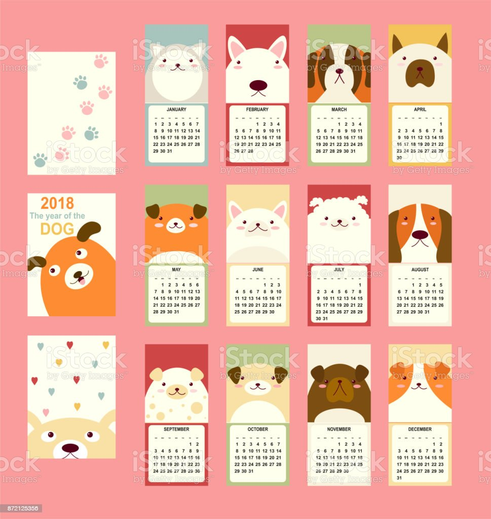 Monthly calendar 2018 with cute dog vector art illustration
