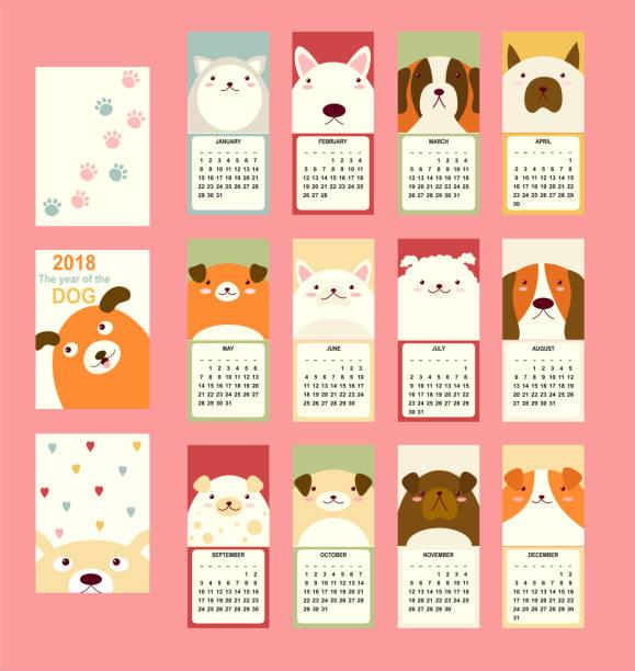 monthly calendar 2018 with cute dog - animals calendar stock illustrations, clip art, cartoons, & icons