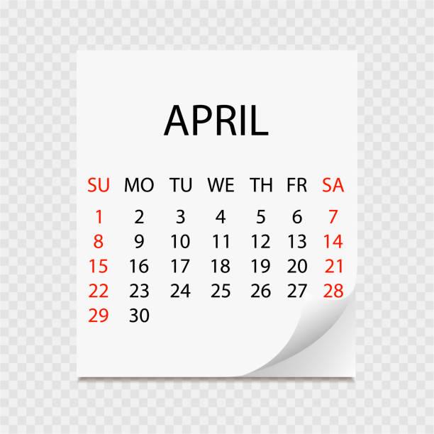 Monatskalender 2018 mit Seite curl. Abreißkalender für April. Weißen Hintergrund. Vektor-illustration – Vektorgrafik
