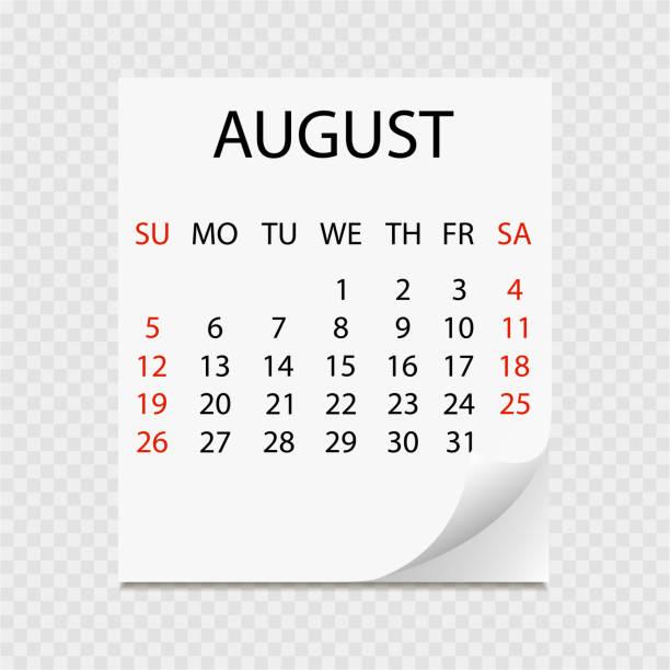 Monatskalender 2018 mit Seite curl. Abreißkalender für August. Weißen Hintergrund. Vektor-illustration – Vektorgrafik