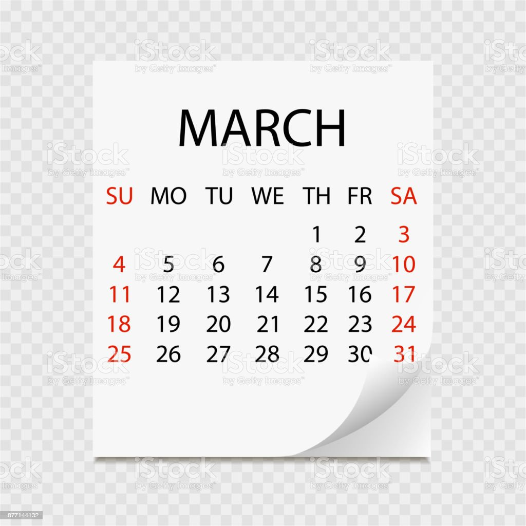 Calendar Monthly March : Monthly calendar with page curl tearoff calendar for march