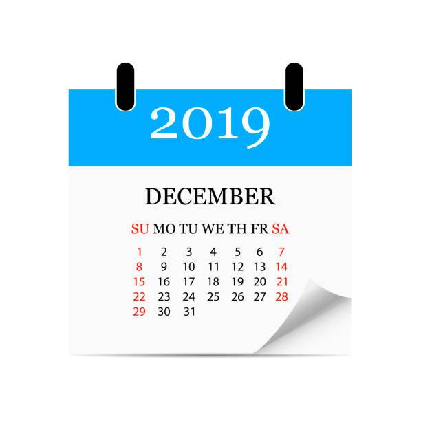 Monatskalender 2019 mit Seite curl. Abreißkalender für Dezember. Weißen Hintergrund. Vektor-illustration – Vektorgrafik