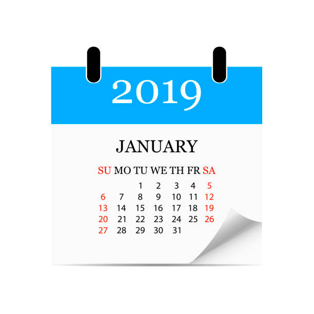 Monatskalender 2019 mit Seite curl. Abreiß Kalender für den Monat Januar. Weißen Hintergrund. Vektor-illustration – Vektorgrafik
