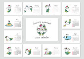 Born to be a purrmaid! Monthly calendar 2020 template with cute cat mermaids. Vector illustration 8 EPS.
