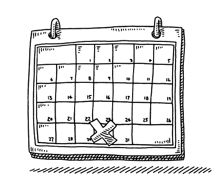 Monthly Calendar Appointment Cross Drawing