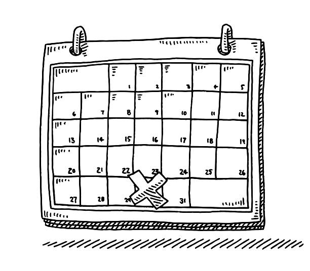 Monthly Calendar Appointment Cross Drawing vector art illustration