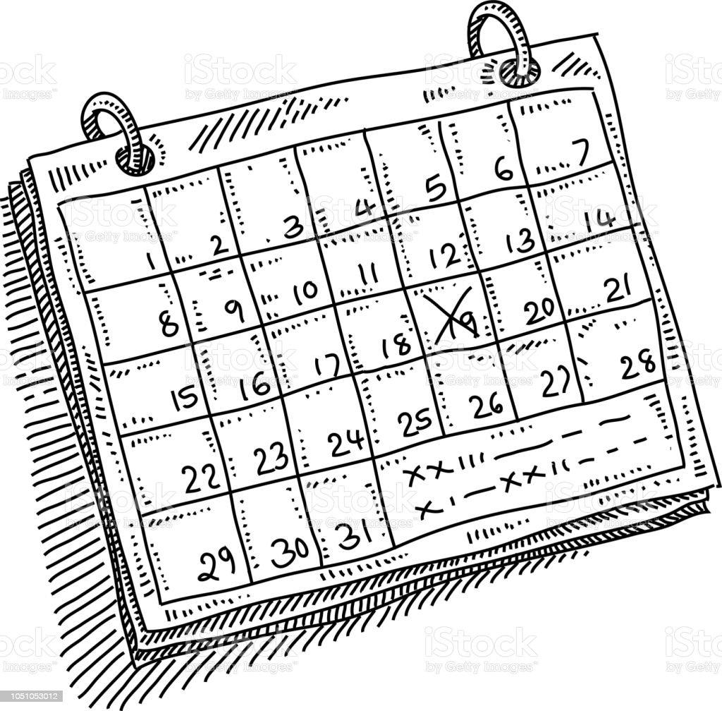 Calendario Dibujo Blanco Y Negro.Ilustracion De Dibujo De Cita De Calendario Mensual Y Mas