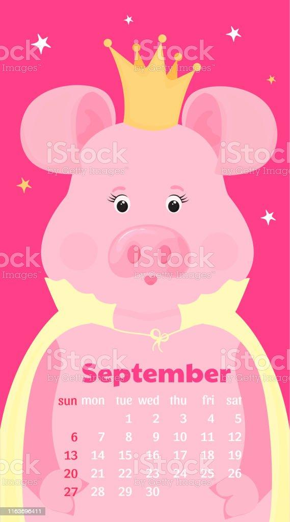 Calendario Dibujo Septiembre.Ilustracion De Calendario Mensual Para Septiembre De 2020