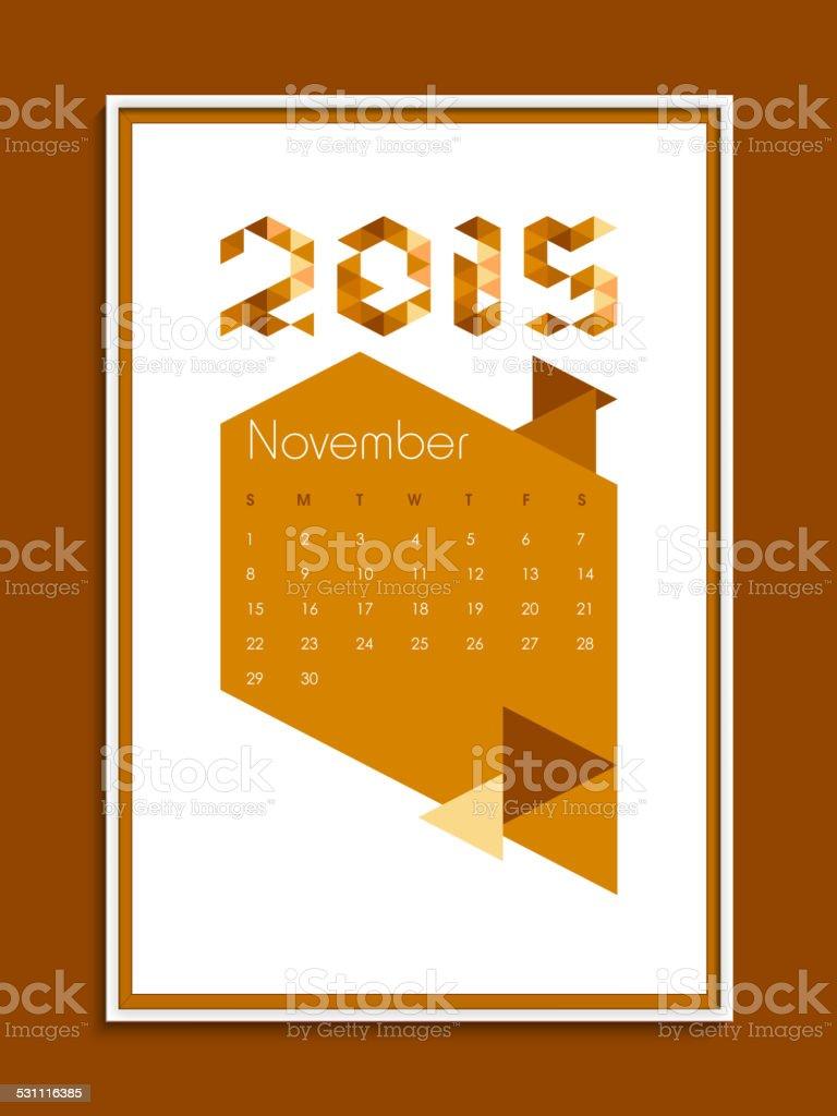 Calendario Anno 2015 Mensile.Calendario Mensile Di Novembre Per Il Nuovo Anno 2015