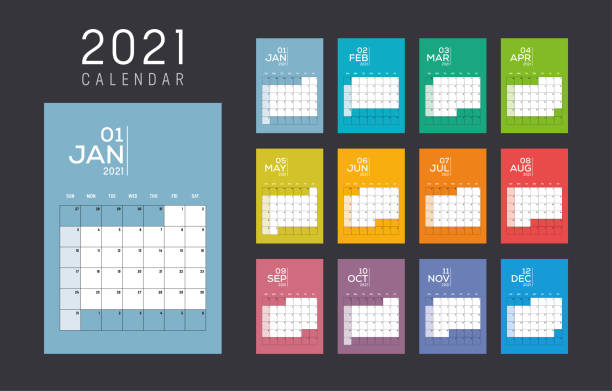 2021 monthly colorful calendar Year 2021 monthly colorful calendar. Week starts Sunday. Vector template. calendars templates stock illustrations