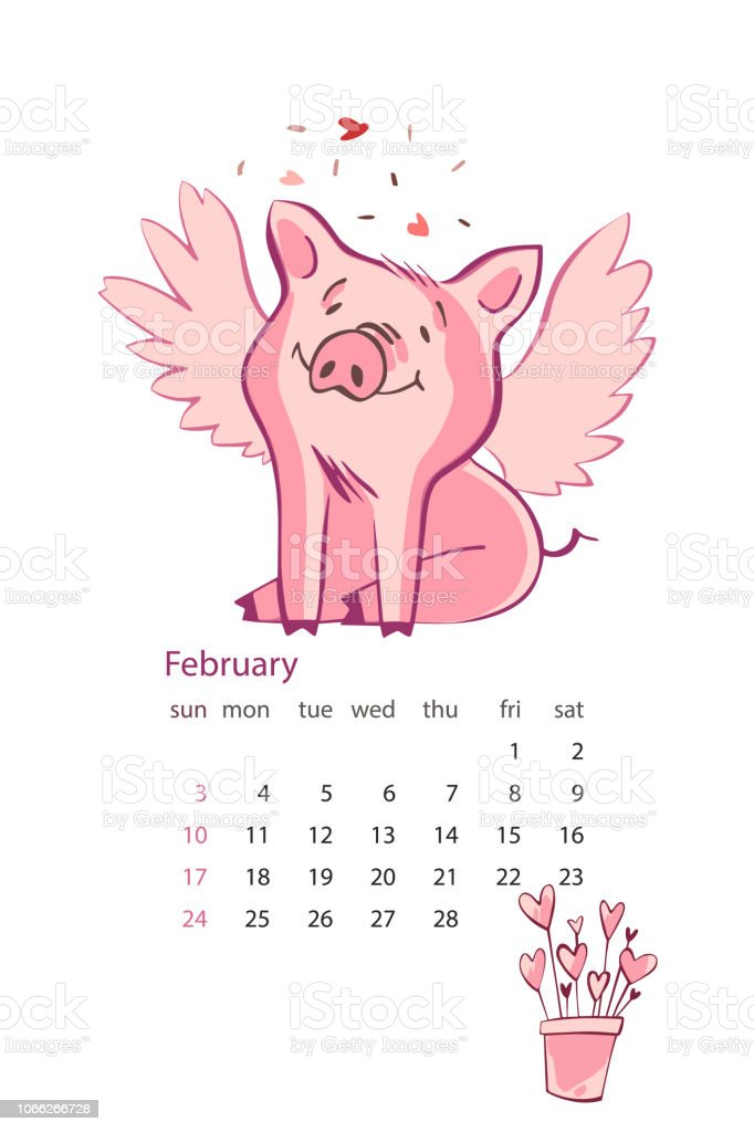 Monthly Creative Calendar 2019 With Cute Pig Concept Vector