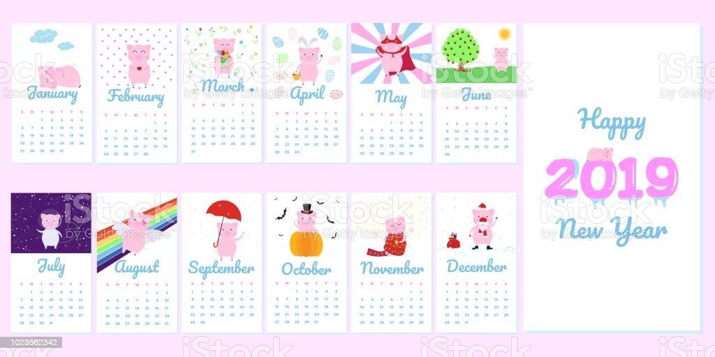Calendario Dezembro 2019 Bonito.Vetores De 2019 Mensal Calendario Criativo Com Calendario De