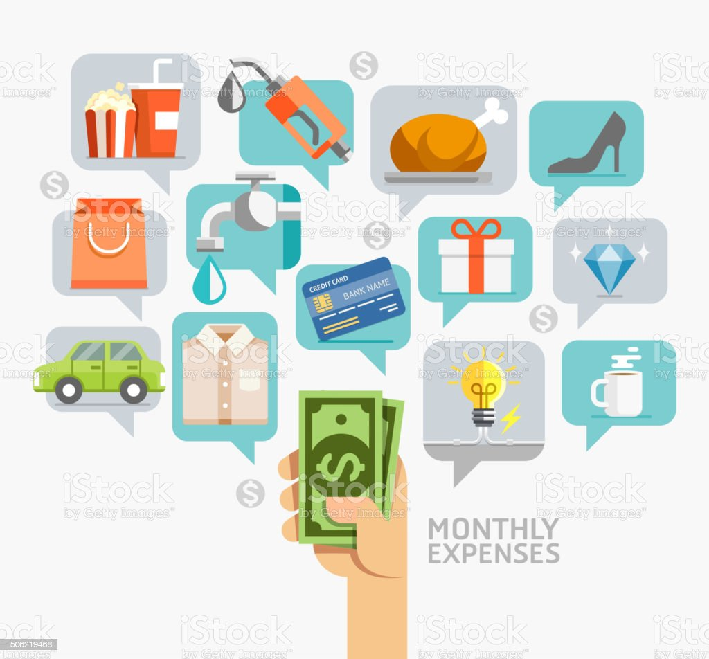 Monthly expenses conceptual flat style. vector art illustration