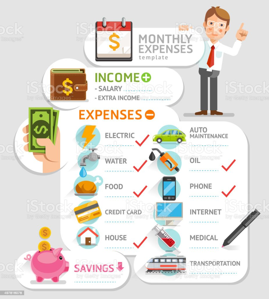 Monthly expenses template. vector art illustration