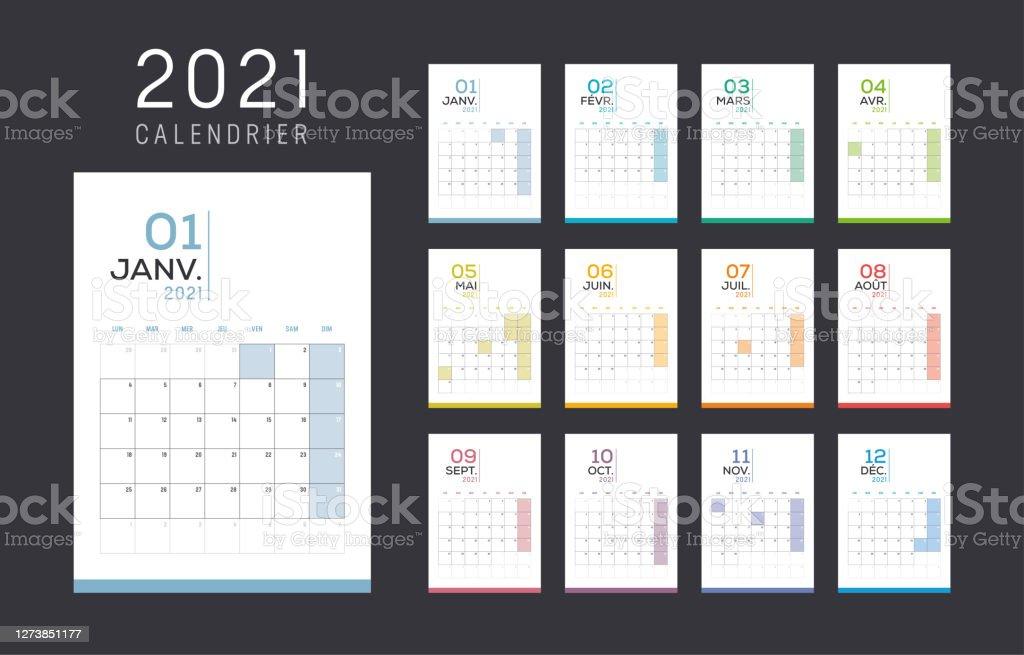 Ilustración de Calendario Francés Mensual De 2021 y más Vectores