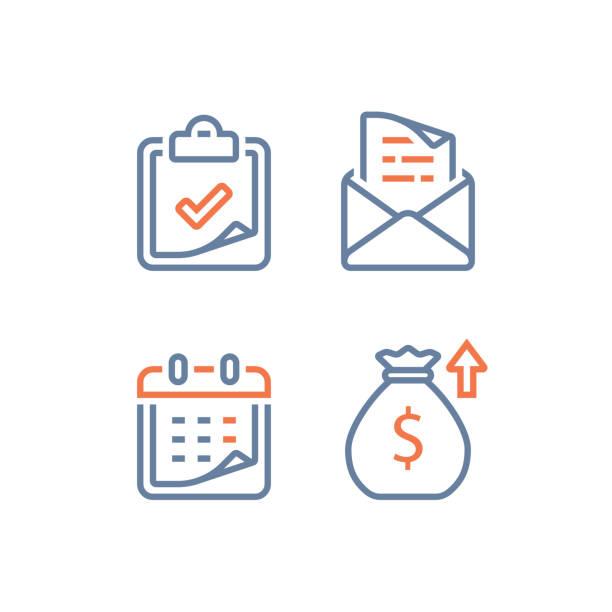 aylık kredi ödeme taksiti, mali takvim, yıllık geliri, uzun vadeli değer yatırım ve dönüş, zaman dilimi - yıllık olay stock illustrations