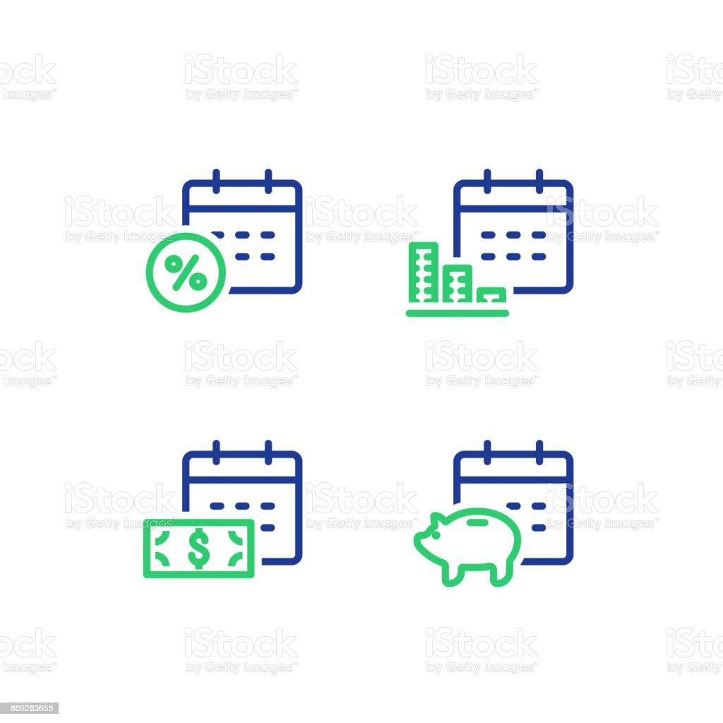 Calendrier Pension.Paiement Mensuel Calendrier Financier Revenu Annuel Piggy