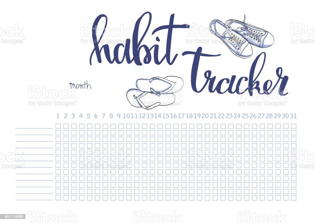 Monatliche Planer Gewohnheit Tracker Leere Vorlage Stock Vektor Art ...