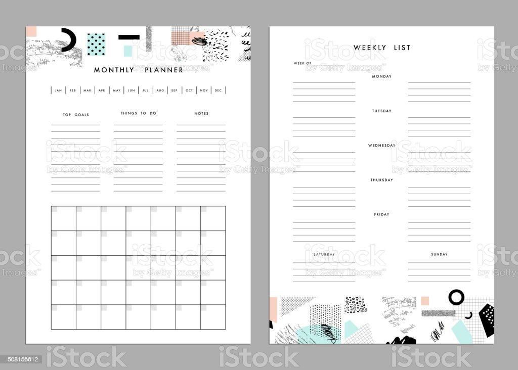 Monatliche Planer Und Wöchentliche Liste Vorlagen Stock Vektor Art ...