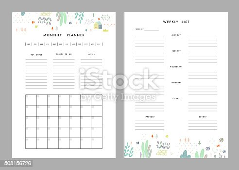 Monthly Weekly Calendar Template from media.istockphoto.com