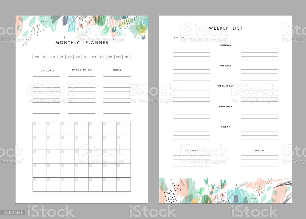 Monthly Planner plus Weekly List Templates vector art illustration