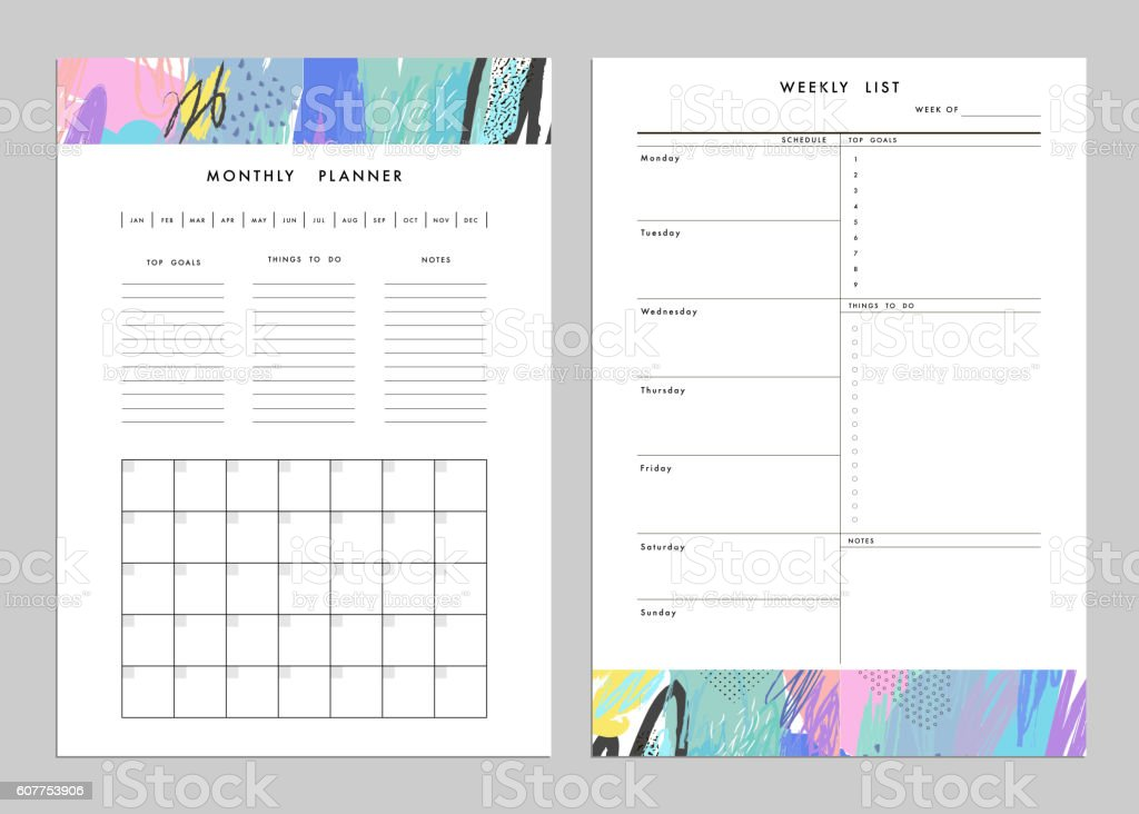 Monthly Planner plus Weekly List Templates. vector art illustration