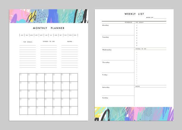 monatliche planer und wöchentliche liste vorlagen. - kalendervorlage stock-grafiken, -clipart, -cartoons und -symbole