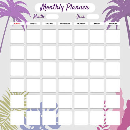 Monthly Planner template vector. Palms floral decoration background. Business notebook management, organizer