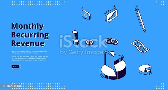 Monthly recurring revenue, mrr isometric landing page. Pie chart, pen, coins and paper money bill on blue background. Budget and income calculation, earning analysis 3d vector line art web banner