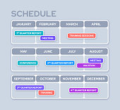 Year planner with monthly events schedule and reminders.