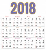 12 Months Calendar Design 20182019 Editable And Printable Stock