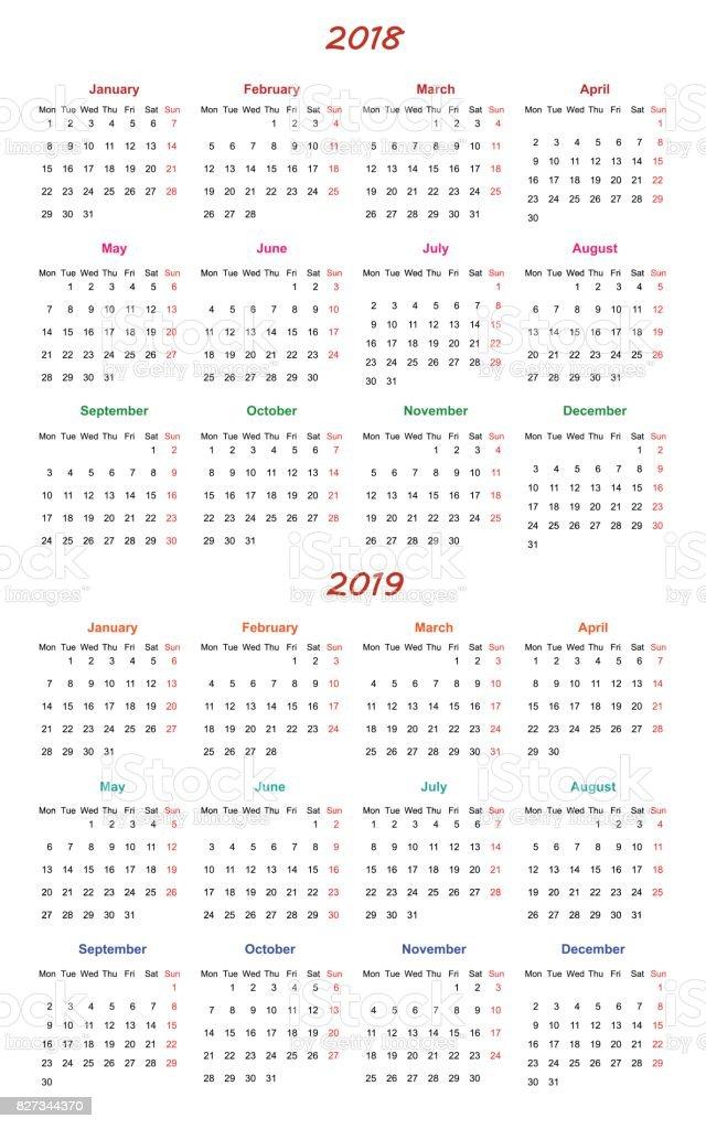 12 Ay Takvim Tasarım 20182019 Düzenlenebilir Ve