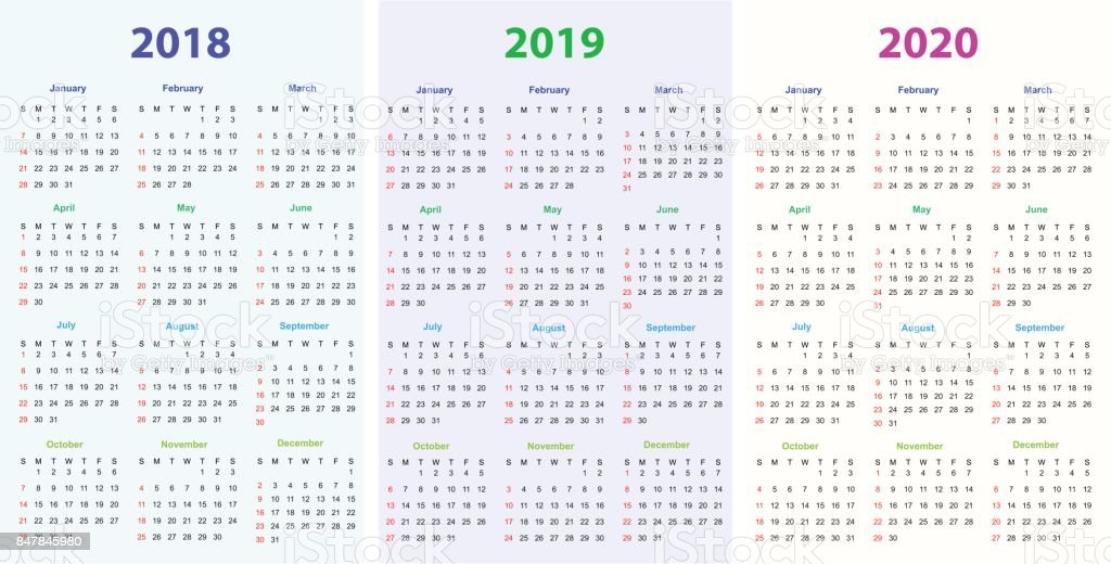 12 months calendar design 201820192020 printable and editable stock