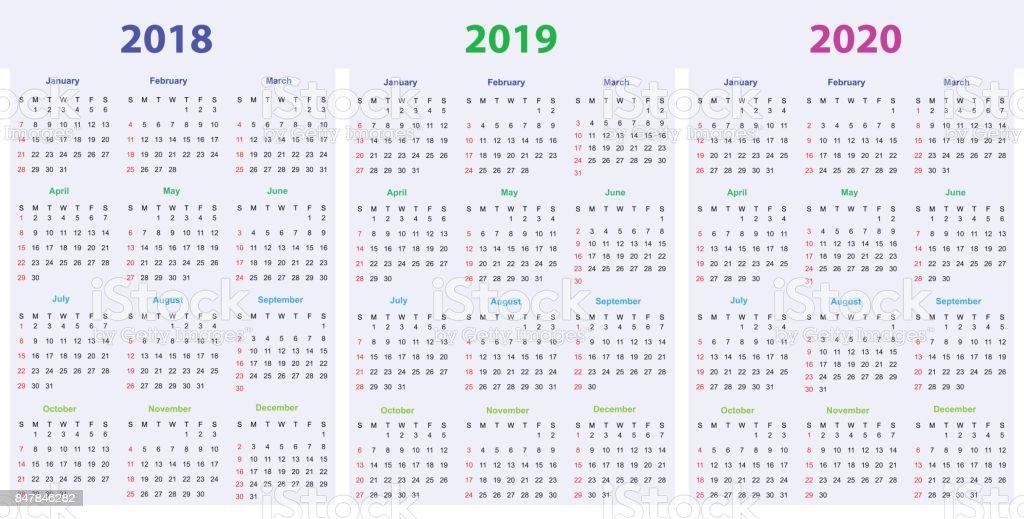12 Ay Takvim Tasarım 201820192020 Yazdırılabilir Ve