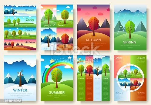 istock 12 Months of the Year. Weather year information set. Seasons banners. Infographic concept background. Layout illustrations template pages with typography text 1164945088