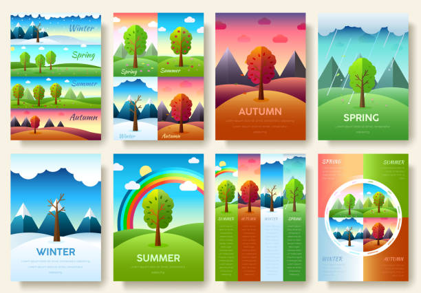 12 months of the year. weather year information set. seasons banners. infographic concept background. layout illustrations template pages with typography text - cztery pory roku stock illustrations