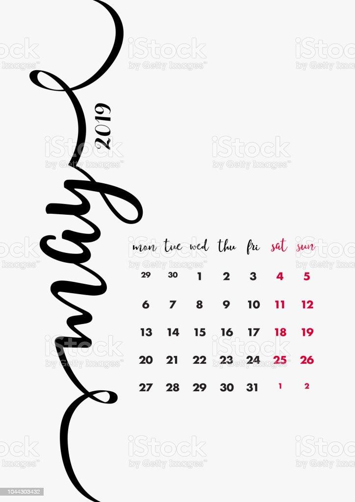Desk Calendar 2019 Design Page 5 Of 12 May 2019 12 Months Pages Set