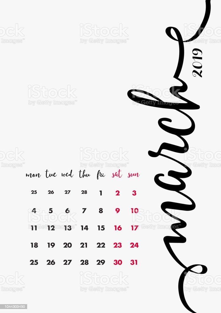 Desk Calendar 2019 Design Page 3 Of 12 March 2019 12 Months