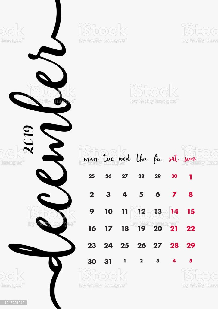 Calendar 2019 December Page Desk Calendar 2019 Design Page 12 Of 12 December 2019 12 Months