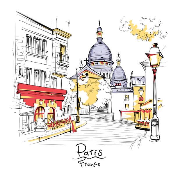 Montmartre in Paris, France Vector sketch of the Place du Tertre and the Sacre-Coeur, quarter Montmartre in Paris, France french culture stock illustrations
