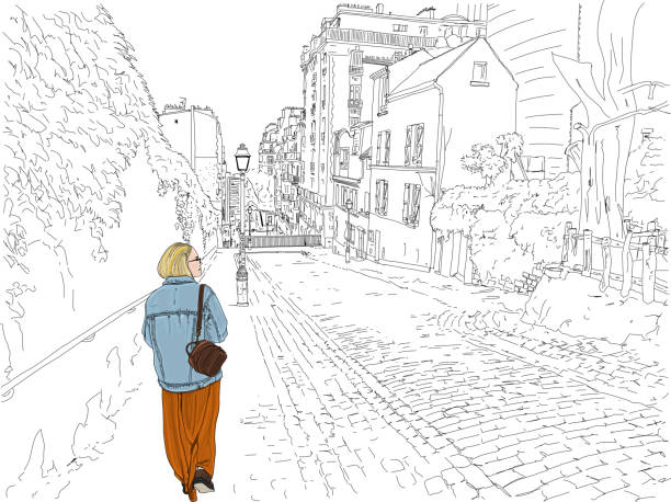 Montmartre Street Hand drawn vector illustration. A young woman tourist wanders a beautiful back street in the romantic Montmartre neighborhood of Paris, France. paris black and white stock illustrations