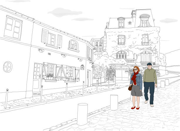 MontmartreRose_BW Hand drawn illustration. A couple wanders the beautiful back streets of Paris, on a lovely day. paris black and white stock illustrations
