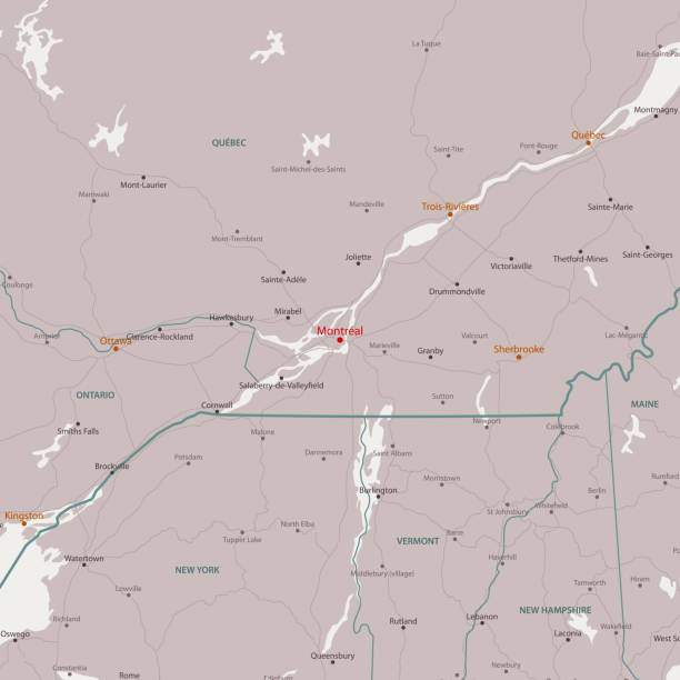 Montreal Canada Area Vector Map Montreal Canada Area Vector Map. All source data is in the public domain. Made with Natural Earth.  http://www.naturalearthdata.com/about/terms-of-use/ quebec stock illustrations