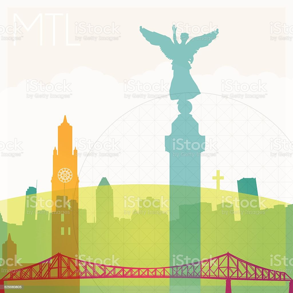 Montreal city silhouettes vector art illustration