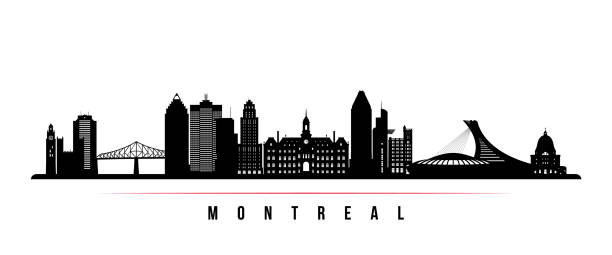 Montreal city skyline horizontal banner. Black and white silhouette of Montreal city, Canada. Vector template for your design. Montreal city skyline horizontal banner. Black and white silhouette of Montreal city, Canada. Vector template for your design. quebec stock illustrations