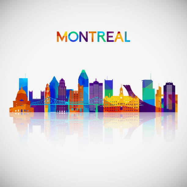 Montreal skyline silhouette in colorful geometric style. Symbol for your design. Vector illustration. Montreal skyline silhouette in colorful geometric style. Symbol for your design. Vector illustration. quebec stock illustrations