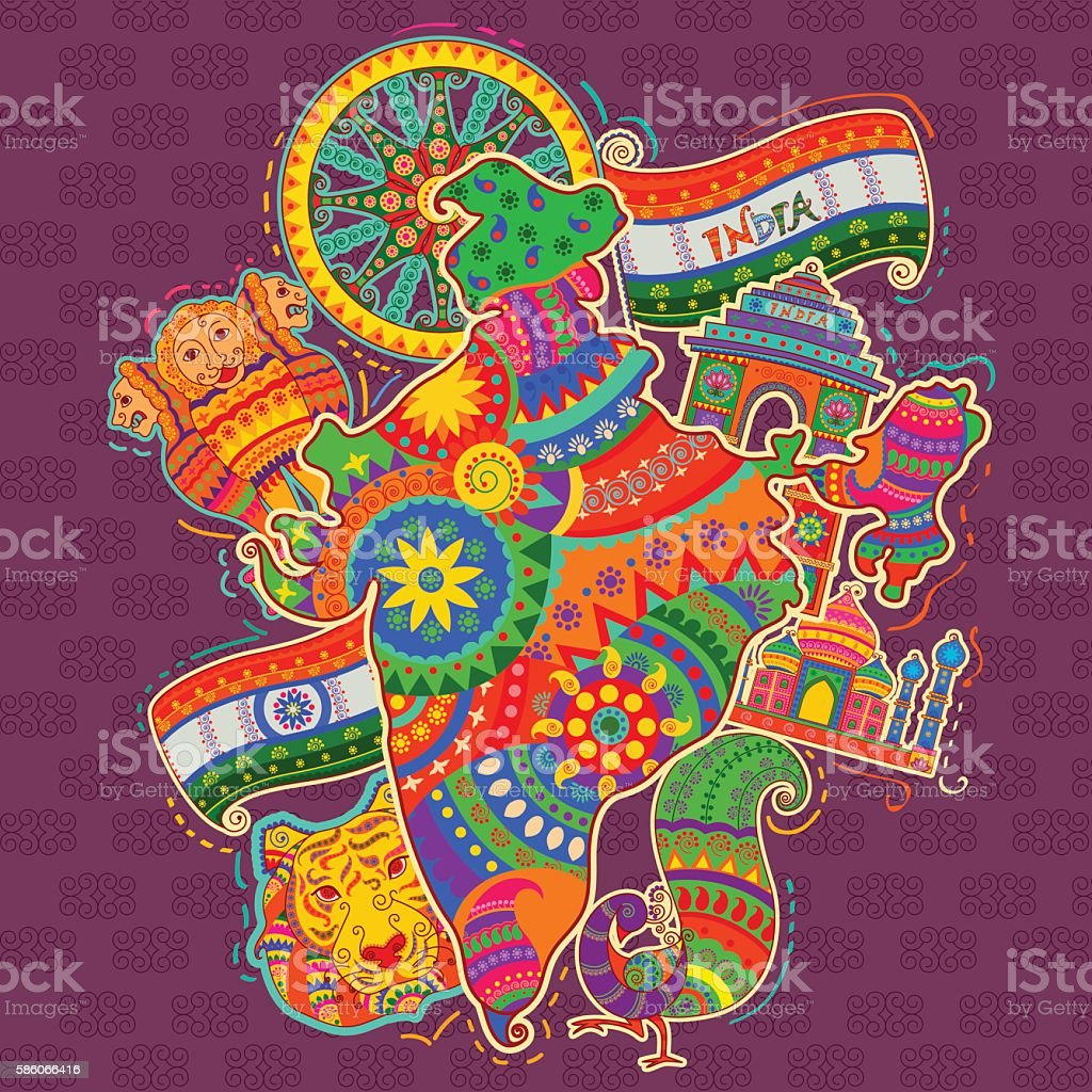 Art From India Indian Culture: Monument And Culture Of India In Indian Art Style Stock