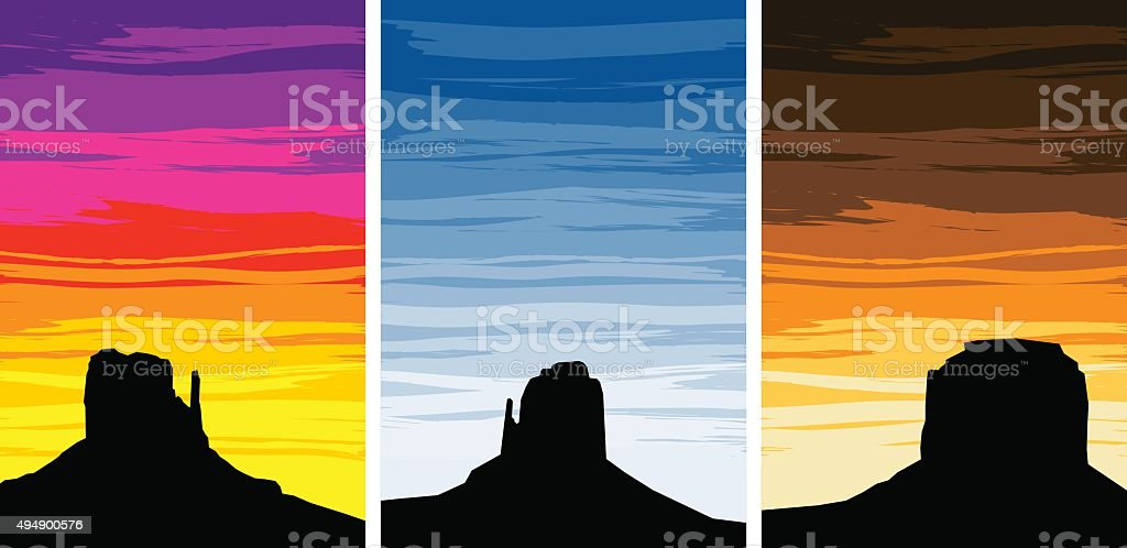 Monument Valley Silhouettes at Sunrise and Sunset vector art illustration
