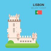 Monuments and landmarks Vector Collection: Belem Tower.