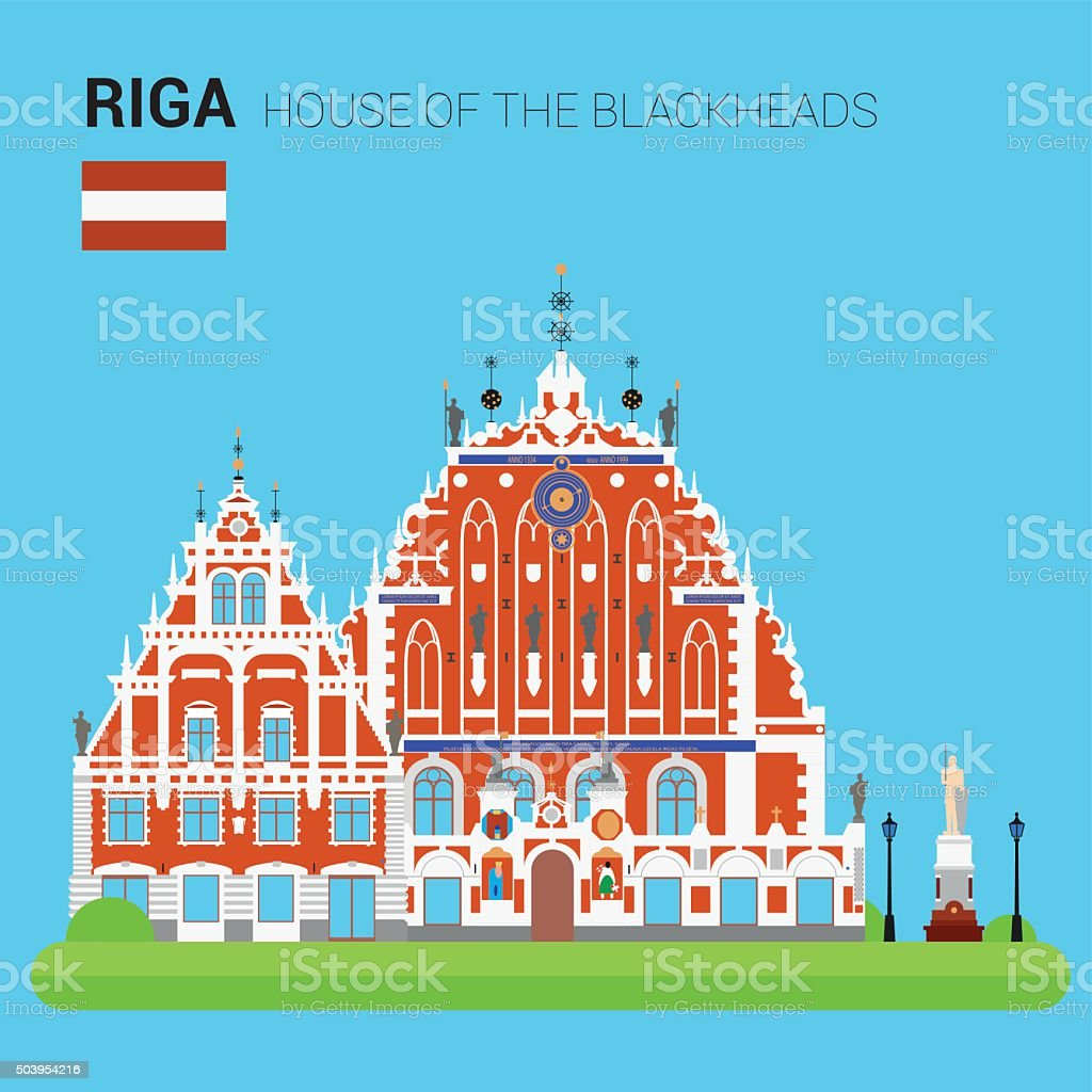 Monuments and landmarks Vector Collection: House of the Blackheads. vector art illustration